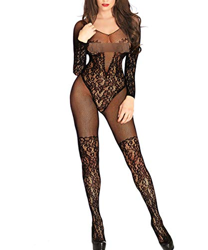 Buitifo Womens Fishnet Bodystocking Plus Size Crotchless Bodysuit Sexy Tights (Black 3)