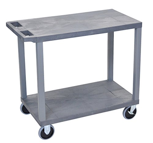 LUXOR EC22HD-G Cart with 2 Flat Shelves, 18
