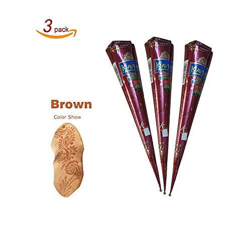 Temporary India Tattoo Kit, Pack of 3 Brown Paste Cone Indian Body Art Painting Drawing