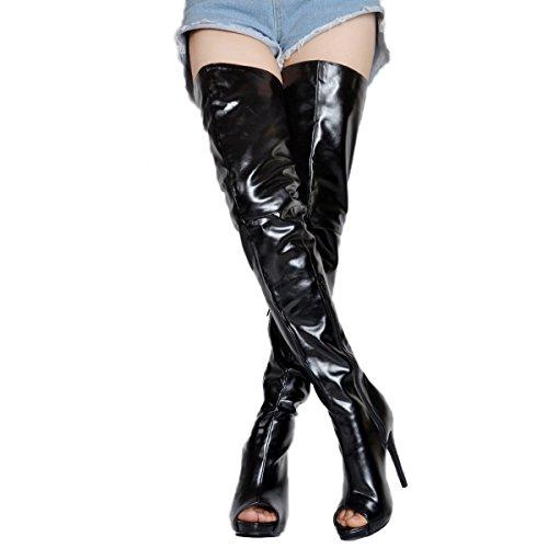 Kolnoo Damen BFCM Handgemachte High Heel Stiefel Peep-Toe Sexy Oberschenkel Stiefel Mode Schuhe Black