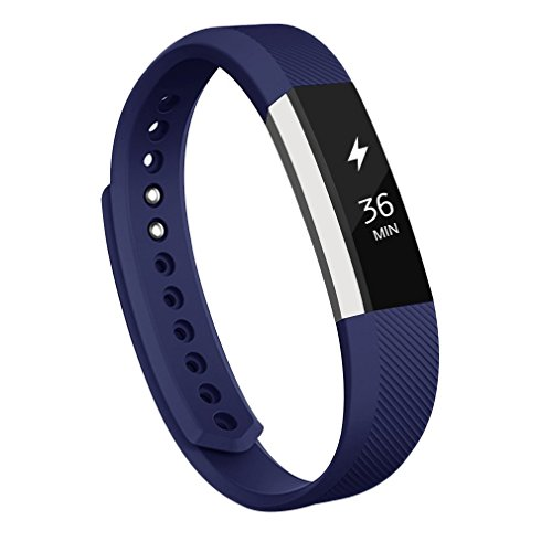 AK C-110 Fitbit Alta Bands, Replacement with Metal Clasp, Large, Blue (Blue Band)