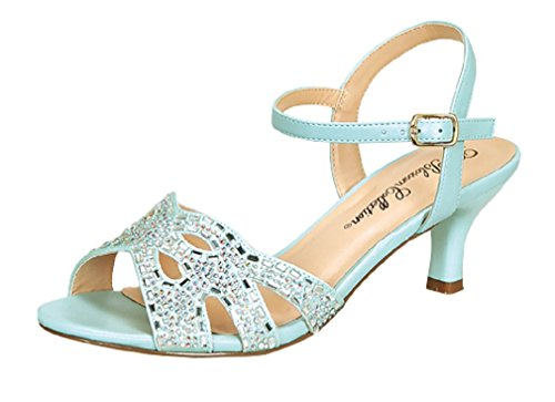 De Blossom Collection berkx173 Women's Rhinestone Open Toe Low Kitten Heel Formal Strappy Sanda Blue -