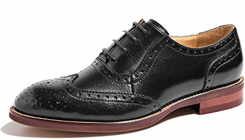 - U-lite Black Perforated Lace-up Wingtip Leather Flat Oxfords Vintage Oxford Shoes Womens BLK 6.5