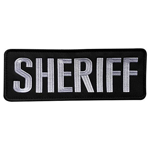 (uuKen Large Embroidery Cloth Fabric Sheriff Patch Black and White for Law Enforcement Police Tactical Vest Jacket Uniform Plate Carrier Back Panel (Black and White, Large 8.5