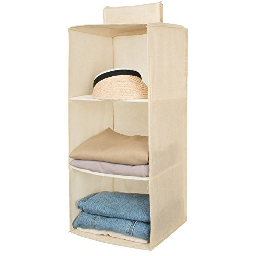 Hanging Closet Organizer,Sweater & sock Organizer with a Hook and Loops,Collapsible Storage Shelves for Clothes, pants and Shoes (Beige-3 Shelf)