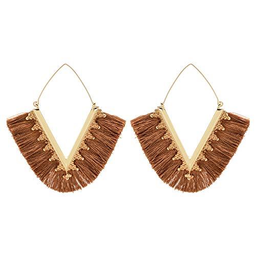 V Shaped Silk Tassel Earrings Bohemian Handmade Geometric Triangle Fringe Earrings for Women
