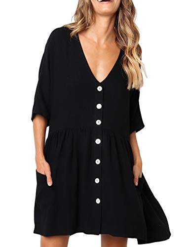 CILKOO Ladies Tunic Blouses Flare Tops Shirt Casual Short Sleeve Beach Button Up Dress Tunic Dresses V Neck Ruffle Loose Swing Pleated T-Shirt Dress US16-18 X-Large Black ()