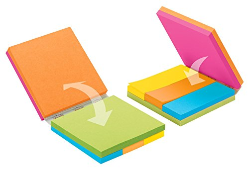 (Post-it Notes Cube, 3 x 3 , Asst. Ultra Colors. 3 pads, 3 x 3 Inches notes, 3 pads of 1 x 3 page markers. (2055-FC2))