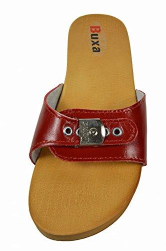 Buxa Ladies Natural Leather/Wooden Anti-Cellulite Flip Flops/Sandals/Clogs Red pKDa3Ow
