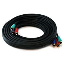 Monoprice 100961 12-Feet 22AWG 3-RCA Component Video Coaxial Cable (RG-59/U), Black
