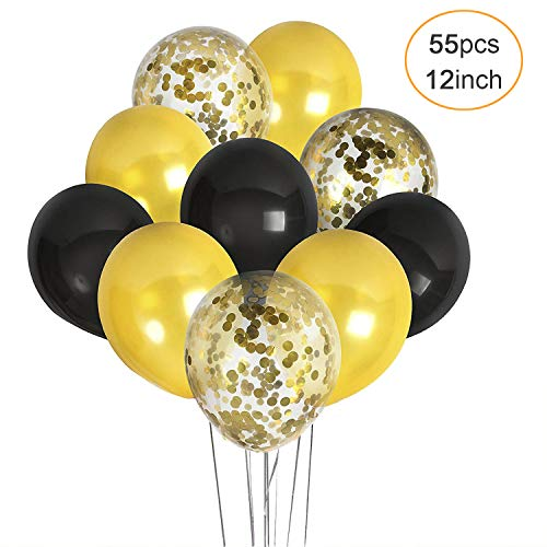 12Inch Black Gold and Confetti Latex Balloons 55pcs 12'' Balloons Party Kit Decorations for Birthday Wedding Graduation Celebration Bridal Shower Congrats Anniversary Supplies