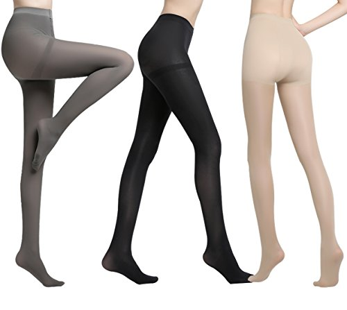 Opaque Footed Tights - Women's Pantyhose Control Top Tights Opaque Footed 80D Legging 3 Pack 1 Black 1 Nude 1 Grey