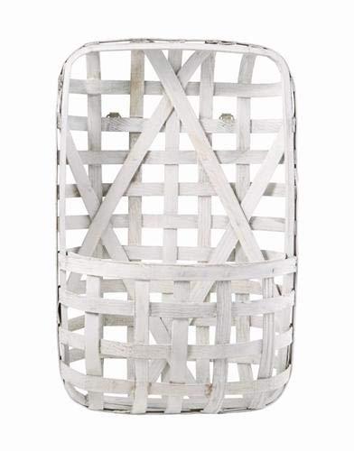 Mud Pie Thanksgiving Tobacco Basket Wall Pockets (White) ()