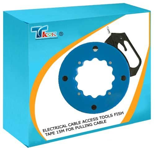 TK9K® - Electrical Cable Access Tools Fish Tape 15m For pulling cable through conduit, under floors and inside cavities. Flexible spring steel with eyed end. Side handle with brake. by TK9K