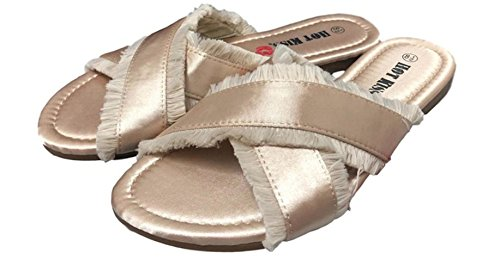 Open-Toe Satin Slides Frayed Detail Hot Kiss (10 M US, Sand)