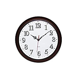 Glowing Forest Wood Wall Clock, Mute Mechanical Movement Technology with No Ticking Sound! Glow in darkness! 13 in Diameter, Antiquity Style, Brushed Paint Surface Texture