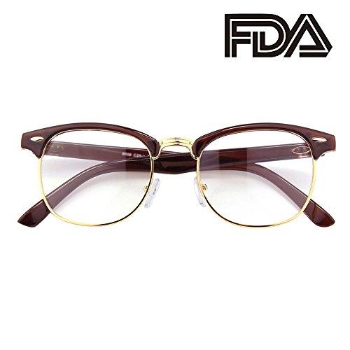 Happy Store CN56 Vintage Inspired Classic Horn Rimmed Half Frame Nerd UV400 Clear Lens Glasses,Brown