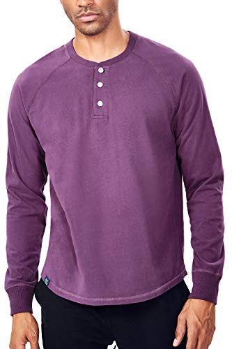 Zengjo Mens Henley Long Sleeve Reglan Shirts Soft Washed Heavy Cotton 3-Button Henley Tee(M,Berry)