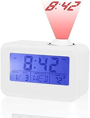 ANDE Reloj Despertador Proyector Digital, Control de Voz Pantalla LED,Temperatura Interior,Alarmas,Temporizador De Sueño,Función Snooze