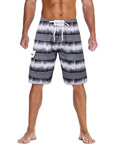 Unitop Men's Striped Swim Trunks Long Beach Board Shorts with Lining Gray-2 34 (Men Wear For Beach)