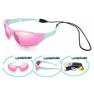 VATTER TR90 Unbreakable Polarized Sport Sunglasses For Kids Boys Girls Youth 816pinkgreenlenses
