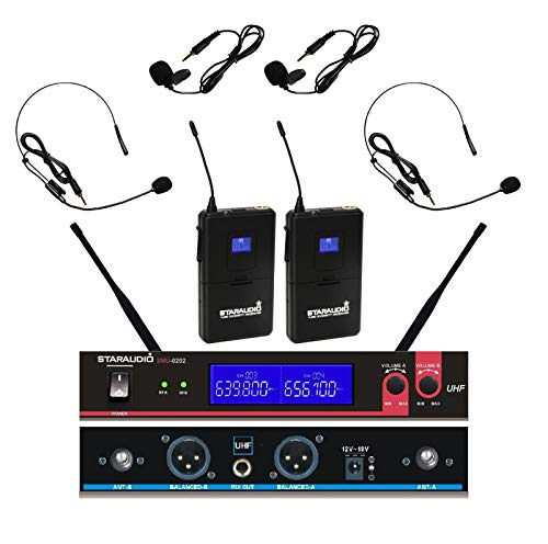 STARAUDIO Pro PA DJ Stage Church Club Karaoke Audio KTV Headset Lapels 2CH UHF Wireless Microphone System Mic For Sing Song Wedding Party Night Clubs School Play Speech Outdoor Indoor (Pro Dj Club Stage)