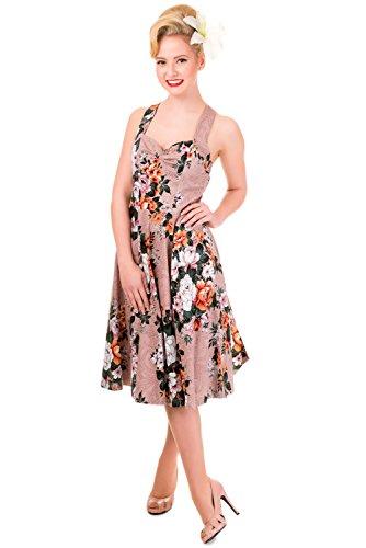 50 's Rockabilly sur tout Imprimé Floral Vintage Swing Robe dos nu