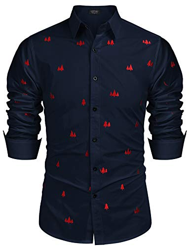 COOFANDY Men's Pine Tree Embroidered Long Sleeve Button Down Shirt (Navy Blue L) (Tree Christmas Embroidered)