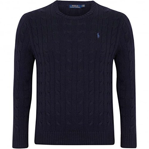 POLO RALPH LAUREN MEN'S CABLE-KNIT COTTON SWEATER, NAVY BLUE, LARGE (Ralph Lauren Cable Sweater)