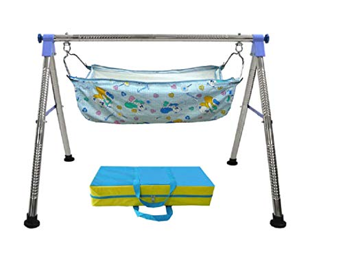 EverEx Folding Stainless Steel Indian Style ghodiyu palna Swing Cradle jhula for Born Baby with Hammock. (Blue)