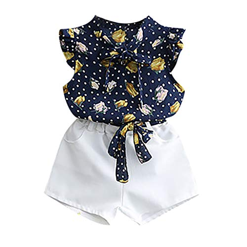 WOCACHI Toddler Baby Girls Sleeveless Floral Dot Print Vest Tops+Solid Shorts Outfits Newborn Mom Daughter Son Coverall Layette Sets Best Gift Multi Adorable Dress-up Outfits Navy
