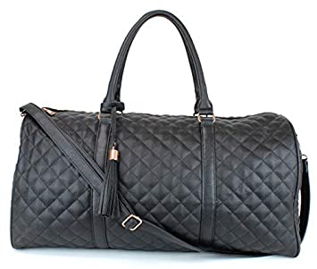 Women s Quilted Leather Weekender Travel Duffel Bag With Rose Gold Hardware – Large 22 Size – Satin Inner Lining – Black