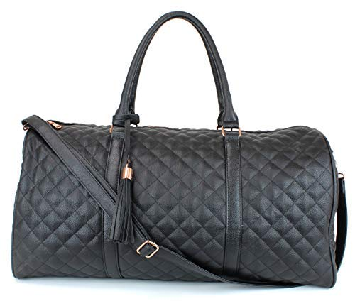 (Women's Quilted Leather Weekender Travel Duffel Bag With Rose Gold Hardware - Large 22