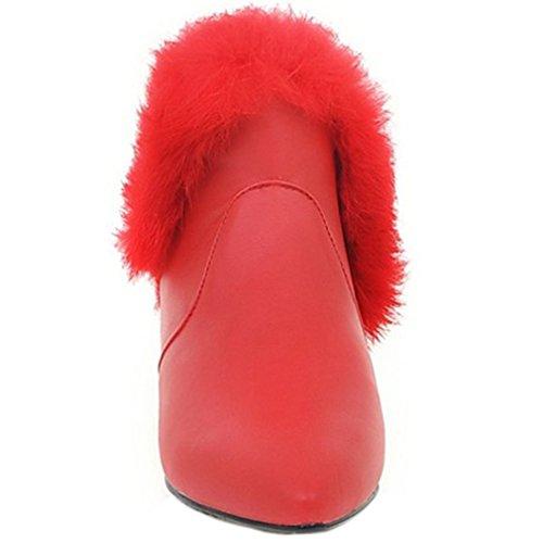 Enmayer Kvinna Pleuche Material Kil Chunky Klack Spetsig Tå Halka På Ankel Stövlar Red3