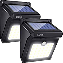 BAXIA Technology Solar Lights,Solar Motion Sensor Lights Outdoor, Waterproof Wireless Bright 28 LED Sensor Light for Outdoor Gate, Door, Wall,Driveway, Garden, Patio, Steps,Yard, Deck(2 Packs,400LM)