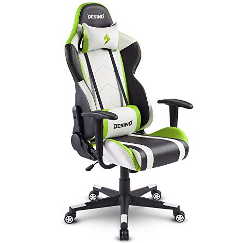 DESINO Gaming Chair Racing Style - High-Back Computer Chair Swivel Ergonomic Executive Office Leather Chair with Footrest, Adjustable Armrests and Lambar Support DESINO