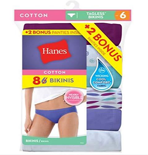 Hanes Women's 6Pack 100% Cotton BIKINI Underwear Ladies Panties, Assorted 8
