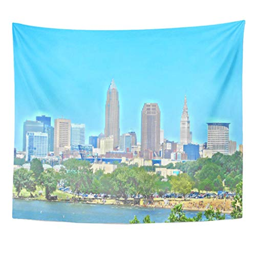 Semtomn Tapestry Artwork Wall Hanging Ohio Lake Skyline Cleveland Oh City Buildings Urban 50x60 Inches Home Decor Tapestries Mattress Tablecloth Curtain Print -