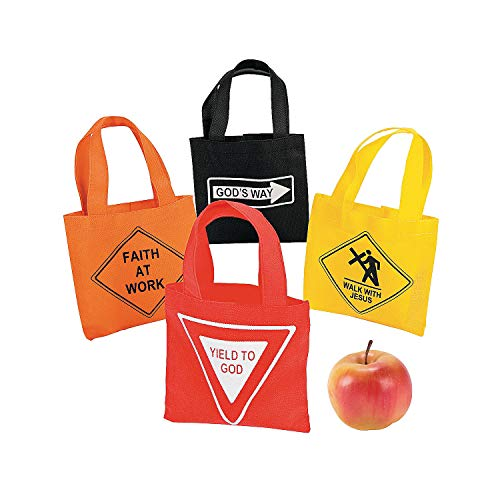 Fun Express - Mini Religious Road Sign Tote Bags - Apparel Accessories - Totes - Novelty Totes - 12 Pieces