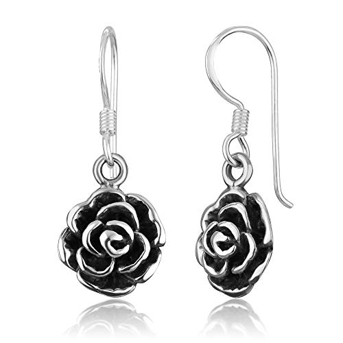- 925 Oxidized Sterling Silver Vintage Rose Flower Dangle Hook Earrings
