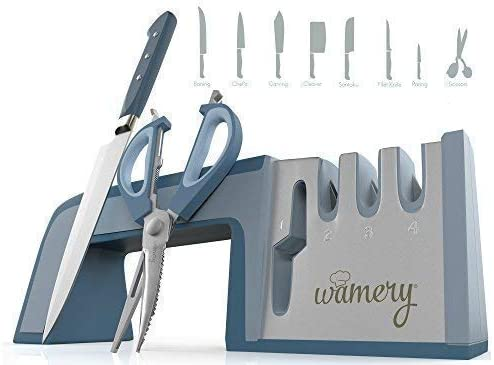 Wamery Knife Sharpener 4-Stage Kitchen Knife and Scissor Sharpeners - Easy to Use Manual Knife Sharpening Scissors Tool Restore Knives & Shears Quickly with Ergonomic Handled & Anti-Slip Safe Pads