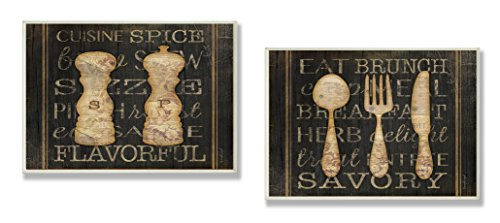 (Stupell Home Décor Salt Pepper And Utensils Typography Duo Kitchen Wall Plaque, 10 x 0.5 x 15, Proudly Made in USA)