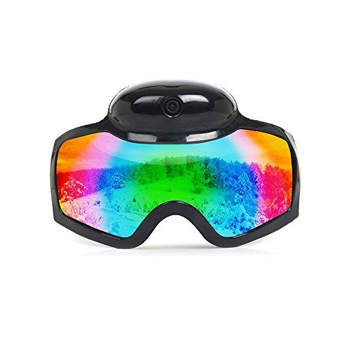 Al aire última intervensión anteojos de esquí–Mini cámara oculta–Full HD 1080p–100% de protección UV400–más de anteojos anteojos de snowboard para hombres, mujeres y jóvenes–incluye tarjeta de 8G TF