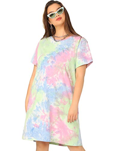 (Romwe Women's Plus Size Loose Casual Short Sleeve Tie Dye Ombre Swing T-Shirt Tunic Dress Multocolor 1XL)