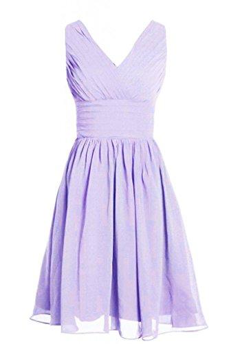 MyProm Women's Straps Short Chiffon Bridesmaid Dress Party Dress Lavender XL