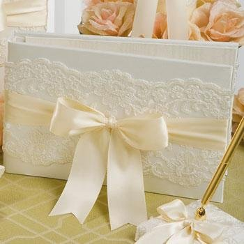Beverly Clark Ivory Lace Guest Book Album with Satin Sage Green Ribbon BC223AI
