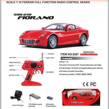 REMOTE CONTROL FERRARI 599 GTB FIORANO RED 1/10 SCALE RC