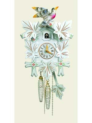 - Orignal Hand Carved Cuckoo Clock with Flowers 12 Inch