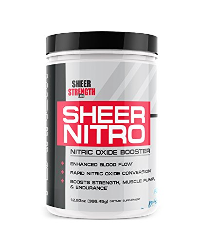 Sheer NITRO Nitric Oxide Powder and Muscle Builder Supplement, Pure Nitric Oxide Booster, Blue Razz Flavor, 30 Servings, 366 grams