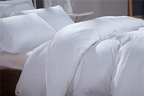 Ropa de cama egipcia - juego de sábanas de 500 hilos Euro IKEA doble blanco a rayas 100% algodón egipcio: Amazon.es: Hogar